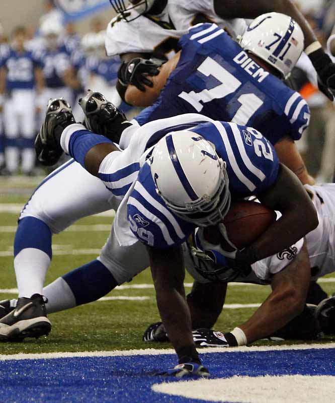 Making his first career start, Joseph Addai rushed for 118 yards, including a 2-yard TD plunge in the third quarter.