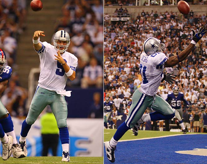 Tony Romo threw for a career-high 345 yards and four touchdowns, plus ran for another score, as the Cowboys defeated the Giants with both teams producing the most points in the 90-game history of the series.  Terrell Owens scored twice, including a diving one-hander to open the second half.