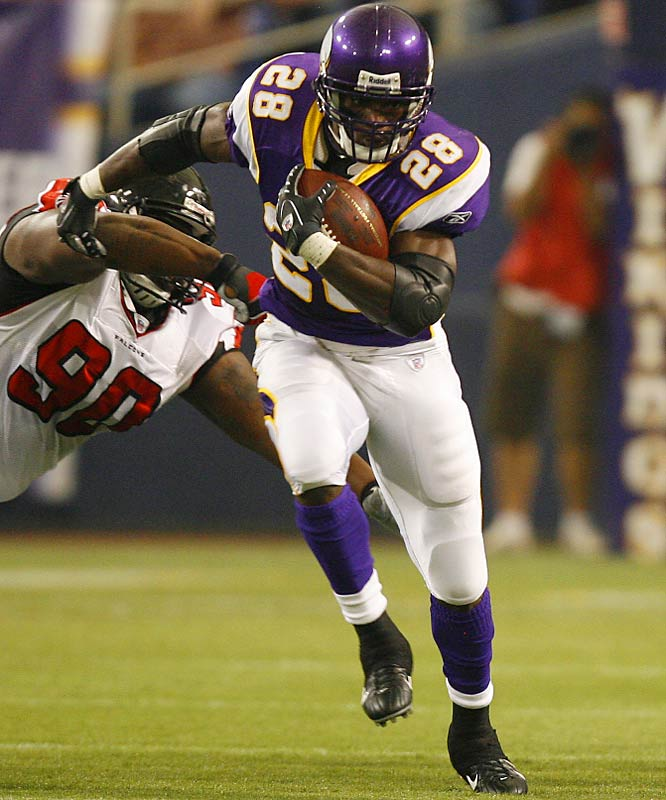 Rookie running back Adrian Peterson ran for 103 yards in a troubling season opener for the Falcons.