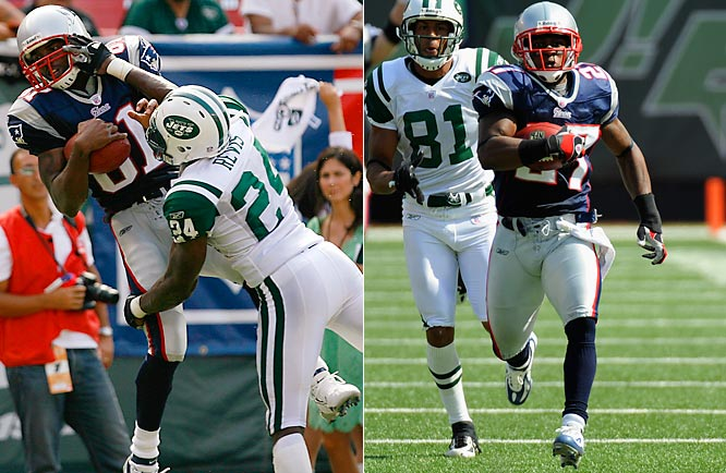 Randy Moss, left, caught nine passes from Tom Brady for 183 yards and a touchdown in his New England debut.  Another Patriot, Ellis Hobbs, right, set an NFL record by taking the second-half kickoff 108 yards for a score.