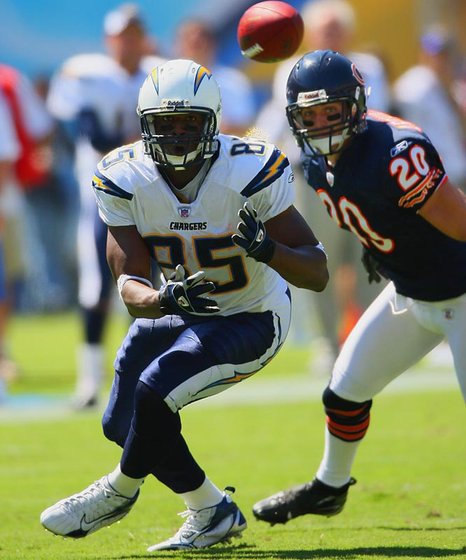 While the Bears managed to hold LaDainian Tomlinson to 25 yards on 17 carries, they were unable to contain Chargers tight end Antonio Gates, who had 107 yards on nine catches. Gates caught a 17-yard TD pass from Tomlinson with 45 seconds left in the third quarter.