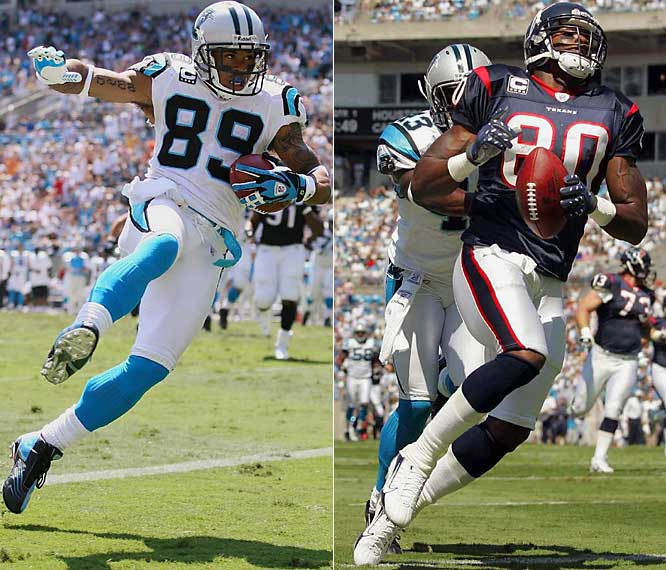 Steve Smith (far left) caught eight passes for 153 yards and three touchdowns. Still, the Panthers were no match for the Texans, who improved to 2-0. Houston's Andre Johnson had seven receptions for 120 yards and two scores before suffering a left knee injury.