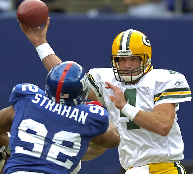 Brett Favre surpassed John Elway on the all-time winningest quarterbacks list (149) after completing 29 of 38 passes for 286 yards and three touchdowns in the blowout win over the Giants.