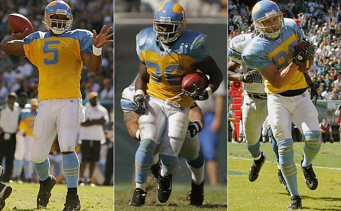 (From left) Donovan McNabb, Brian Westbrook and Kevin Curtis decimated Detroit's defense as the Eagles got their first win of the season, wearing powder blue and yellow uniforms to commemorate their 75-year anniversary.
