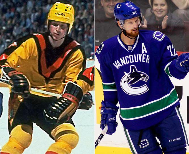The Canucks wore the most unforgettable sweater of the late '70s and early '80s. Their new uniform reflects their original colors and logo (on the shoulders) with the crest they adopted in 1997. Other teams, such as the Dallas Stars and Nashville Predators, also have their city name spelled out across the chest this season.