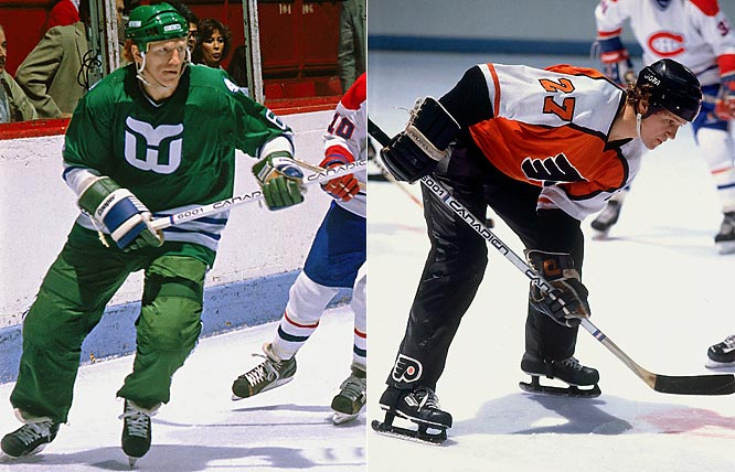 One of the NHL's bolder, and weirder, experiments began in 1981. Only the Hartford Whalers and Philadelphia Flyers wore the pants, which were gone after two seasons because players found them too slick, making them prone to skidding long and hard into the boards.