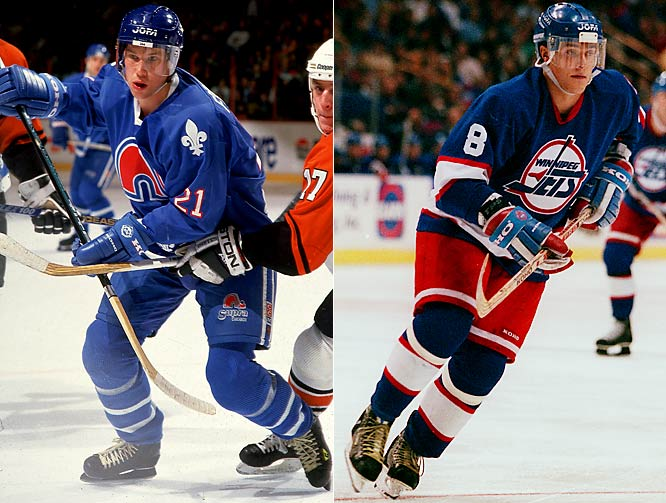 By the mid-'90s the expanding NHL was moving south, and with that change went fondly-remembered teams such as former WHA members the Quebec Nordiques (yes, that's young Peter Forsberg) and Winnipeg Jets, who moved to Colorado ('95) and Arizona ('96), respectively.