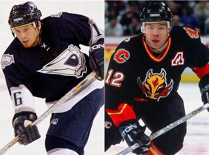 Third jerseys with alternate colors and crests survived into the 21st century, among them the Edmonton Oilers' black oil drop and the Calgary Flames' fiery steed.