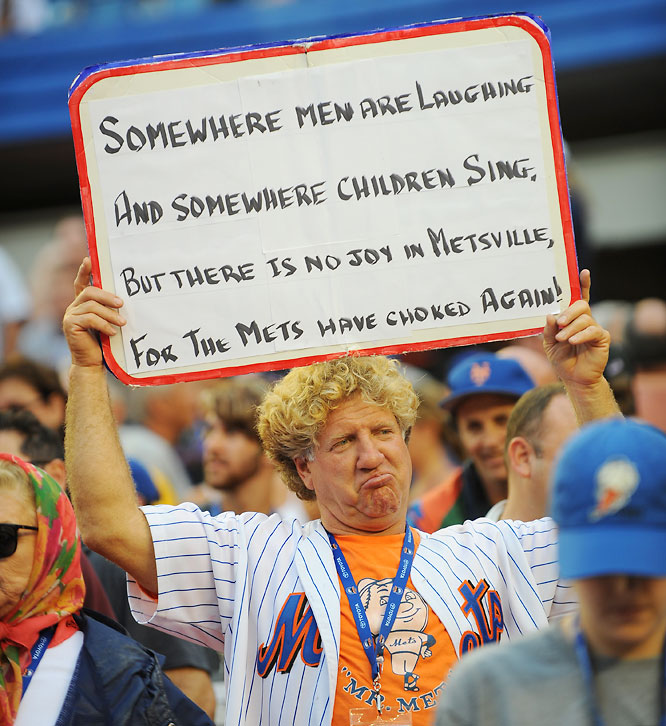 "For the second consecutive season, the Mets choked away an NL East title down the stretch. New York held first place by a season-high 3 1/2 games with 17 left, but went 7-10 the rest of the way. According to the Elias Sports Bureau, the Mets became the first team ever to hold 3 1/2-game division leads in consecutive Septembers and fail to make the postseason both times (excluding the 1981 split season). ""We failed. We failed as a team,"" David Wright said. ""There's no pointing fingers. There's no excuses. We as a unit didn't get the job done."""