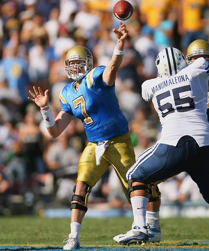 Coming out of high school as one of the nation's top recruits, Olson signed with BYU and redshirted his freshman year. After a two-year Mormon mission, Olson transferred to UCLA. In two games this season -- including a win over BYU -- Olson has thrown for 412 yards and five touchdowns.