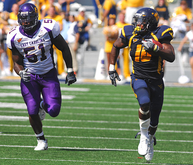 Steve Slaton rushed for 110 yards and a score to match the West Virginia record for career touchdowns. It was Slaton's 42nd career rushing TD, tying the school record shared by Ira Rodgers and Avon Cobourne.