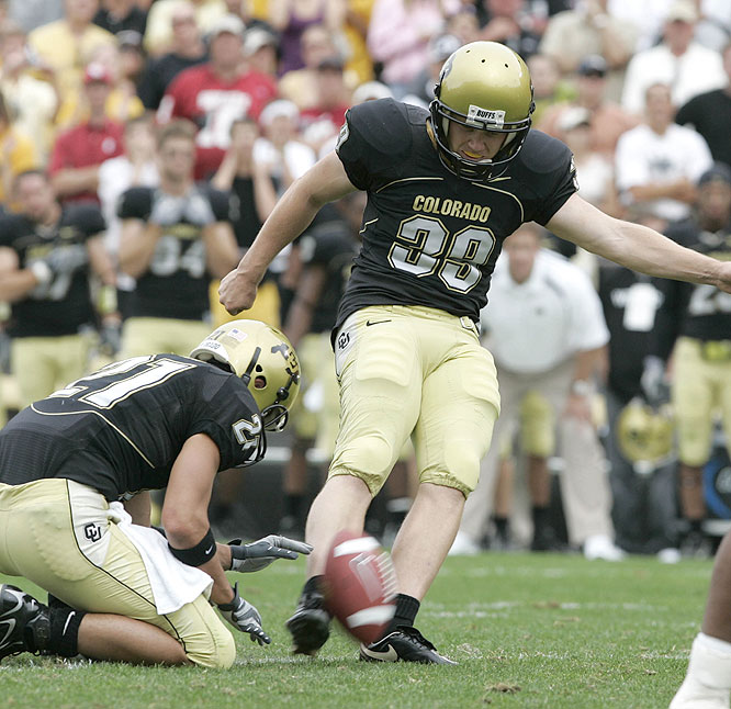 Kevin Eberhart hit a career-long 45-yard field goal as time expired as the Buffaloes earned their first win over a top-five team since Dec. 1, 2001.