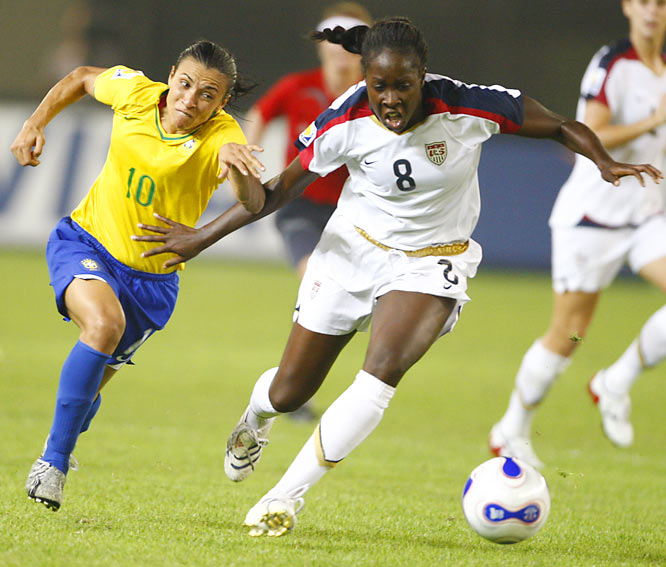 Marta sped past U.S. defenders all game to create scoring opportunities for Brazil, which ended the U.S. team's 51-game unbeaten streak.