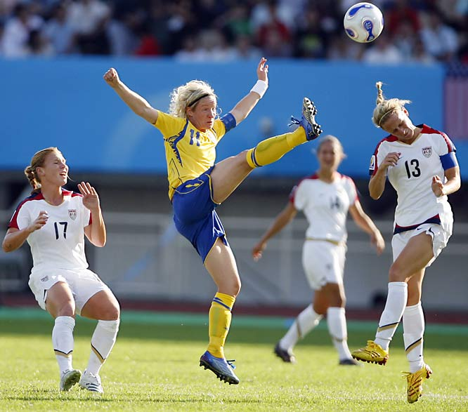 Sweden's captain Victoria Svensson and U.S. captain Kristine Lilly have gone up for a long ball many times against each other.