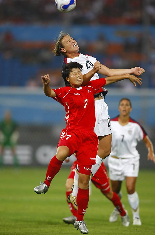 Forward Abby Wambach (20) came off the field in the 55th minute after colliding with North Korea's Rik Kum Suk. Wambach fell to the ground with blood pouring from the back of her head and onto her face and jersey. For 10 minutes, the U.S. played short-handed while she got stitches. Wambach had scored the Americans' opening goal, in the 50th minute.