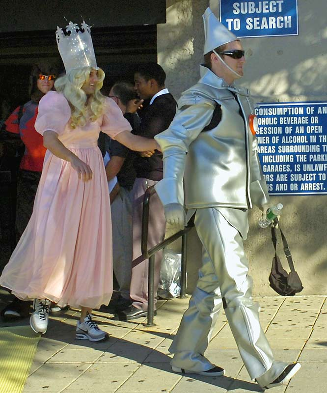 Hughes is dressed as the Tin Man and Chase Wright, left, is the Good Witch.