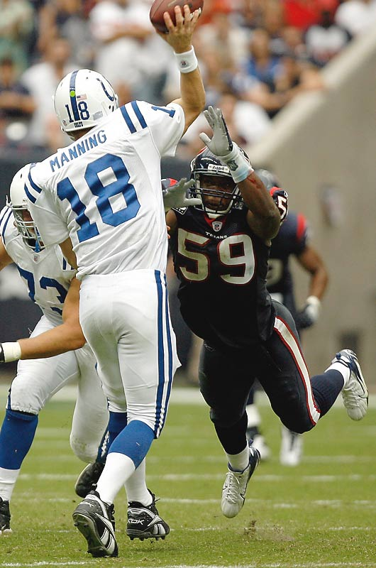 Like Dumervil, Ryans slipped in the 2006 draft because of his lack of bulk. Houston took him in the second round, and the move paid off as Ryans went on to lead the NFL in solo tackles, with 126, and earn defensive rookie of the year honors. This season he's the captain of a much improved Texans defense.