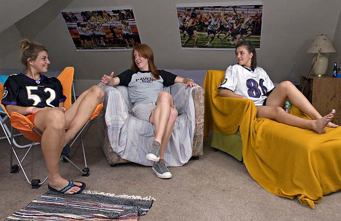 On Sundays, Maryland natives Bissett, Brushe and Gibson put on their Baltimore Ravens gear and cheer on their team. The girls usually go to Harry's, a popular campus bar where Gibson also works, to watch the Ravens play, but they also enjoy lounging and watching football in their attic.