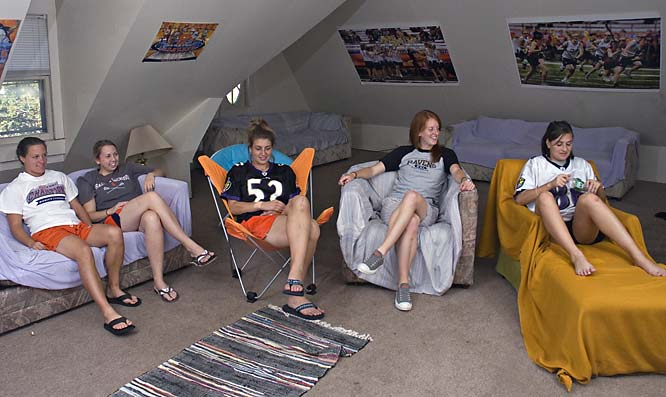 The attic walls are lined with prints of the team in action in the Carrier Dome and with other SU posters. With plenty of space and seating available, the girls plan on spending a lot of time in the attic once winter comes and the attic temperature drops.