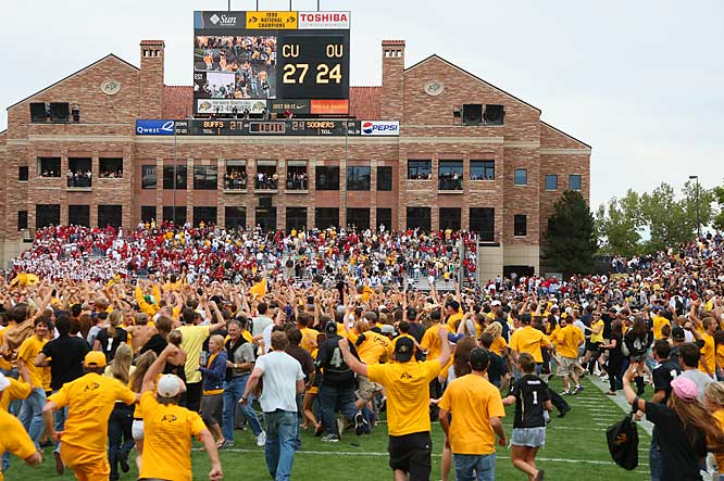 Colorado fans swarm Folsom Field after the Buffaloes upset then-No. 3 Oklahoma, 27-24.