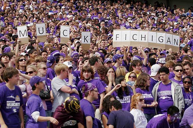Northwestern fans show their love for Michigan.