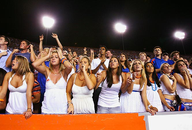 Florida fans look on in horror as Auburn's game-winning field goal splits the uprights to give the Tigers a 20-17 victory.