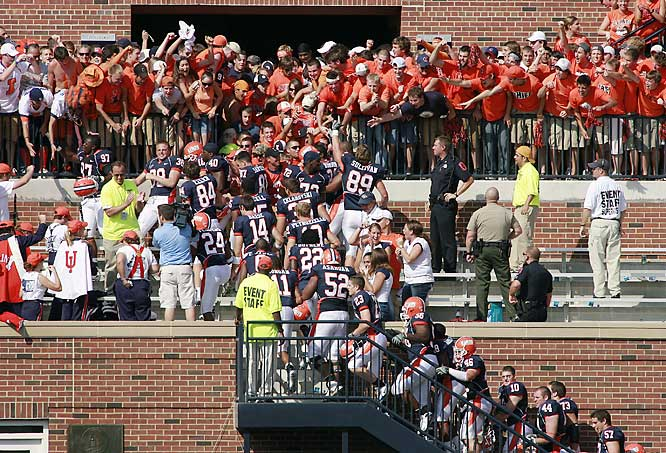 Illinois players were so excited about the Illini's 31-26 victory over Wisconsin, they went to the stands to celebrate.