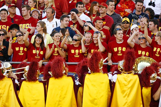 USC fans get a front row view of the Trojans Marching Band.