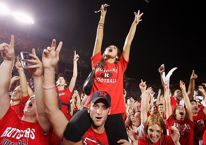 This Rutgers fan was quite excited about the Scarlet Knights' 20-17 victory over South Florida.