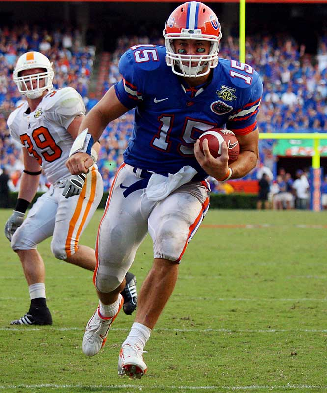 Forget about his youth. In his first year as Florida's starting signal-caller, Tebow is playing like a bona fide veteran. With a 17-to-3 touchdown-to-interception ratio and 66 percent completion rate, the super soph leads the nation in passing efficiency. Through seven games, Tebow has rushed for 578 yards and 10 touchdowns.