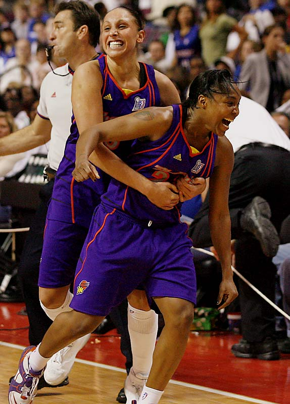 The Phoenix Mercury's potent 1-2 punch won the first WNBA title of their career in a back-and-forth five-game series against the Detroit Shock.