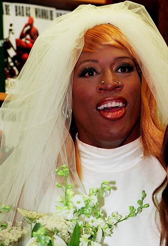 To promote his literary tour-de-force, <i>Bad As I Wanna Be</i>, Rodman showed up at a New York bookstore in 1996 in a horse-drawn carriage, wearing a wedding dress and a wig and claimed he was marrying himself. The stunt, one of Rodman's most egregious displays of androgyny, landed him on Mr. Blackwell's list of the worst-dressed women of 1996.