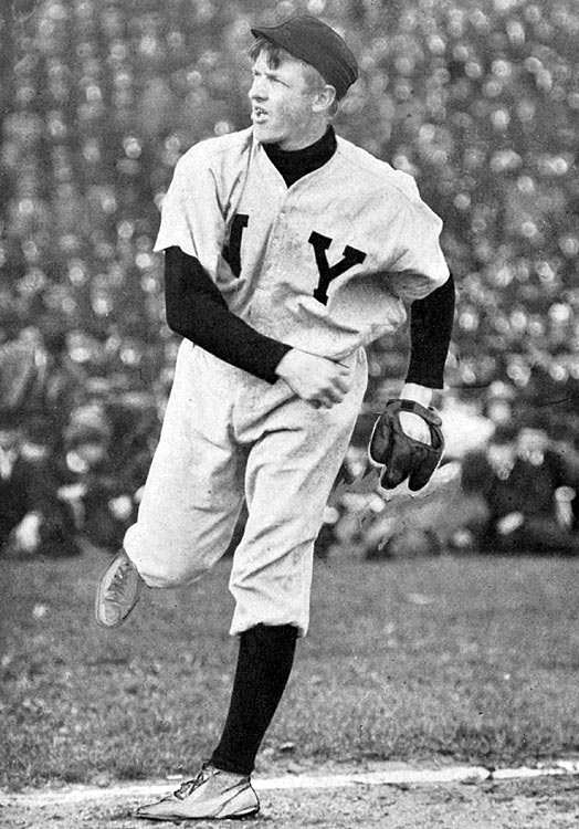 Christy Mathewson of the Giants pitched three shutouts in six days against the Philadelphia A's. The last, in Game 5, saw him surrender just five hits and no walks while striking out four in a 2-0 win that clinched the Series for New York.