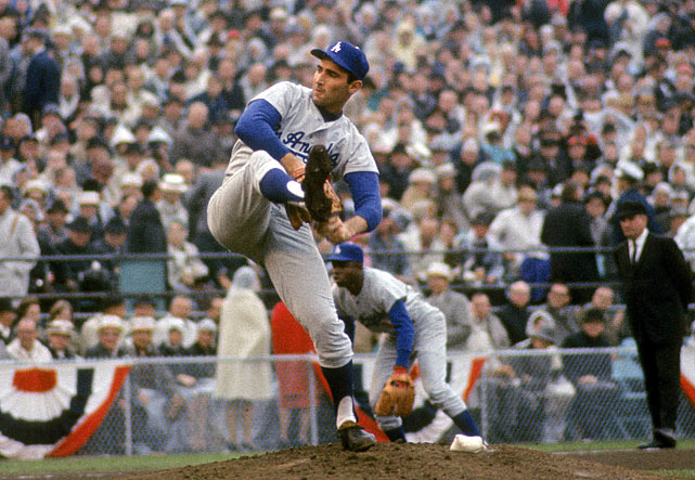 Dodgers ace Sandy Koufax didn't pitch Game 1 of the Series because it fell on Yom Kippur so he didn't start until Game 2. Los Angeles lost both those games and headed home trailing 2-0. But the Dodgers won Games 3 and 4, Koufax pitched a shutout in Game 5 and, after the Twins tied the Series in Game 6, he did it again in Game 7. Pitching on just two days' rest, Koufax allowed just three hits and three walks while striking out 10 in L.A.'s 2-0 victory.