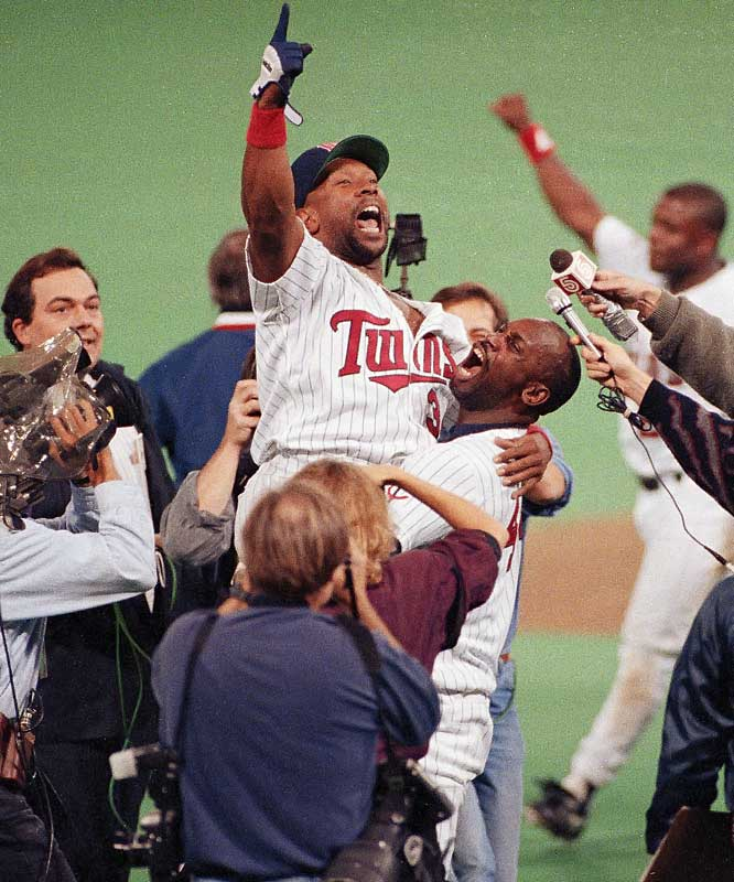 In what may have been the best World Series ever played, the Twins' Kirby Puckett hit a walk-off home run in the bottom of the 11th inning to even the Series with the Braves at three games apiece. It was the fourth game of the Series to be decided in a team's final at-bat and there would be a fifth in Game 7, which Minnesota won 1-0 in 10 innings behind the complete game brilliance of Jack Morris.