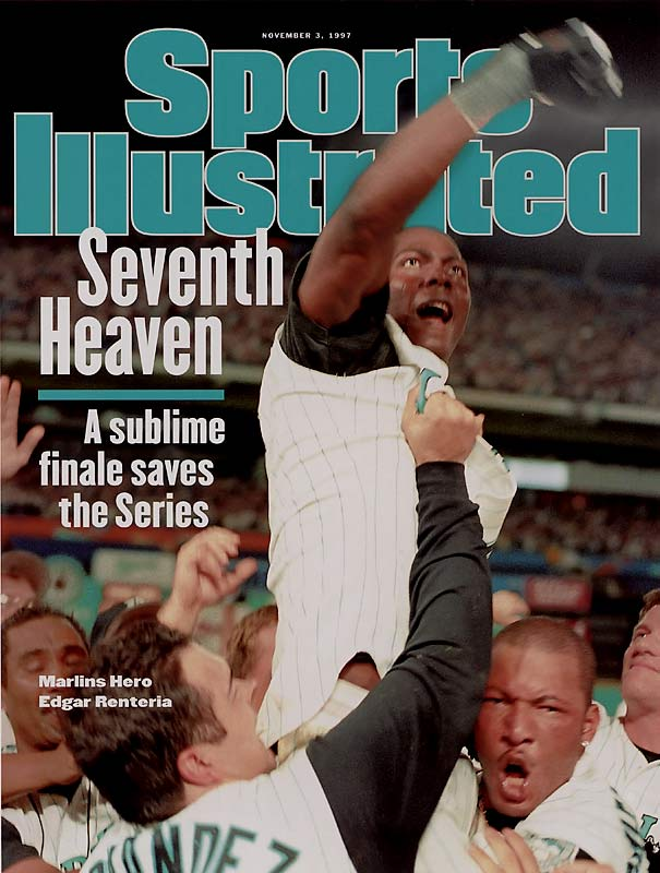 The Marlins fought back to tie Game 7 in the bottom of the ninth and then won it in the 11th when Edgar Renteria singled to center field to score Craig Counsell with the winning run. Florida became the first wild card team to win a World Series.