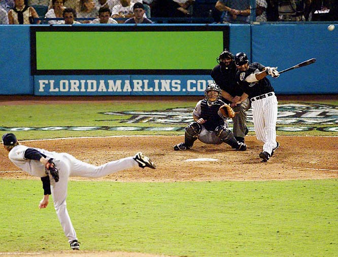 Marlins shortstop Alex Gonzalez ended the second-longest game in World Series history with this home run off Yankees reliever Jeff Weaver in Game 4 The win evened the Series at 2-2. Florida won the next two games as well to win its second title in seven years.