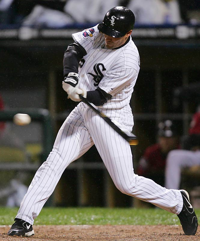 The White Sox' scrappy leadoff hitter, Scott Podsednik, hit zero home runs during the '05 regular season but he gave Chicago a 2-0 World Series edge with this shocking blast off Houston closer Brad Lidge in the bottom of the ninth at U.S. Cellular Field.