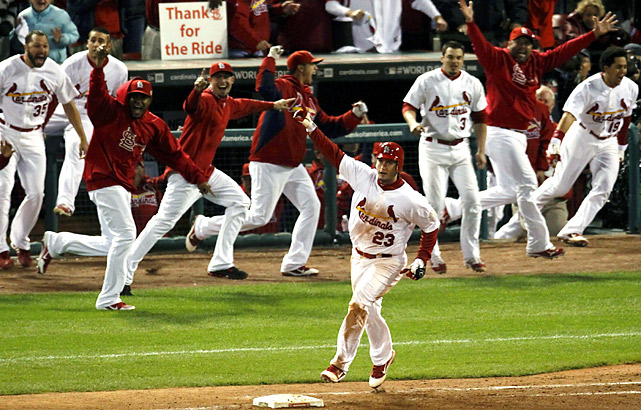 Twice down to their last strike, the St. Louis Cardinals kept rallying to win one of baseball's greatest thrillers. David Freese (23) completed a startling night of comebacks with a home run leading off the bottom of the 11th inning to beat Texas 10-9, and suddenly fans all over got something they have waited forever to see: Game 7 in the World Series.