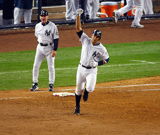 Alex Rodriguez's road to postseason redemption began in the ninth inning of Game 2 of the 2009 ALDS. Facing star Twins closer Joe Nathan with the Yankees trailing 3-1, Rodriguez launched a massive two-run homer that tied the score. The Yankees won the game in the 11th on Mark Teixeira's walk-off home run and completed a sweep in Game 3. The Yankees went on to win the World Series, with A-Rod exorcising his previous postseason demons by hitting .365 with six HRs and a franchise-record 18 RBIs.