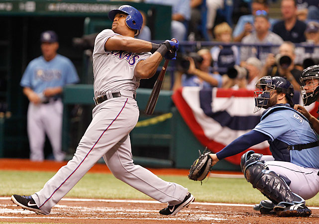 Adrian Beltre homered in the second, fourth and seventh innings to lift the Rangers over the Rays and into the ALCS. Beltre joined Babe Ruth, Reggie Jackson, George Brett, Bob Robertson and Adam Kennedy in hitting three home runs in a playoff game. But Beltre was the first to accomplish the feat in a Division Series.