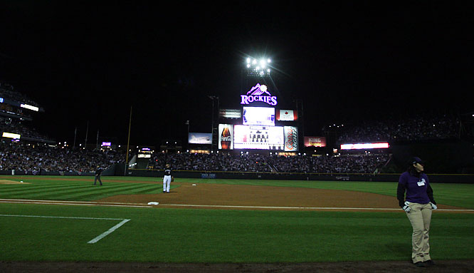 A computer malfunction caused a power blackout that plunged Coors Field into darkness during the second inning of Game 3 of the Rockies Division Series matchup with the Philadelphia Phillies. The game was delayed for 14 minutes. When play resumed, the Rockies went on to a series-clinching 2-1 win.