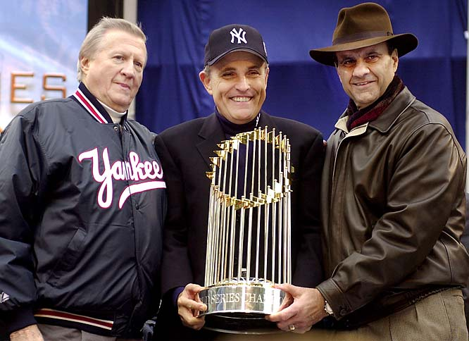 Former New York City Mayor, Rudi Giuliani, grew close to Torre during their time in the Big Apple together and was a fixture at Yankee Stadium throughout Torre's regime.