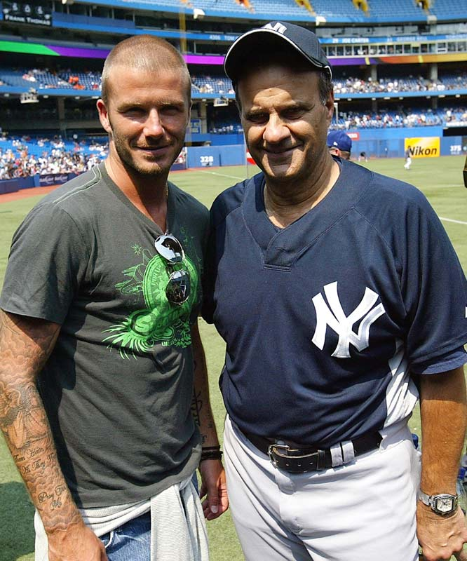 During his 12-year tenure as Yankees manager, Torre became quite the New York socialite. Torre posed with Los Angeles Galaxy star David Beckham during a Yankees-Blue Jays series in Toronto on Aug. 6, 2007.
