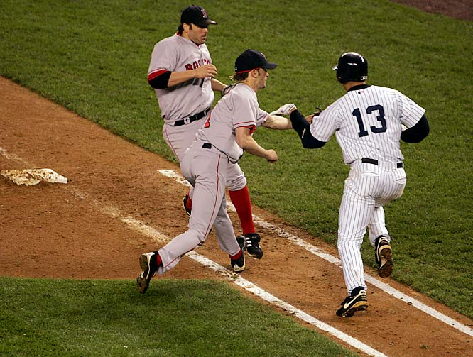 The Yankees trailed the Red Sox 4-2 in Game 6 when Alex Rodriguez hit a ground ball back to pitcher Bronson Arroyo in the eighth inning. Rodriguez was called safe after swiping the ball out of Arroyo's glove but was then ruled out after the umpires conferred. Boston held on for a 4-2 win and then ousted the Yankees in Game 7.
