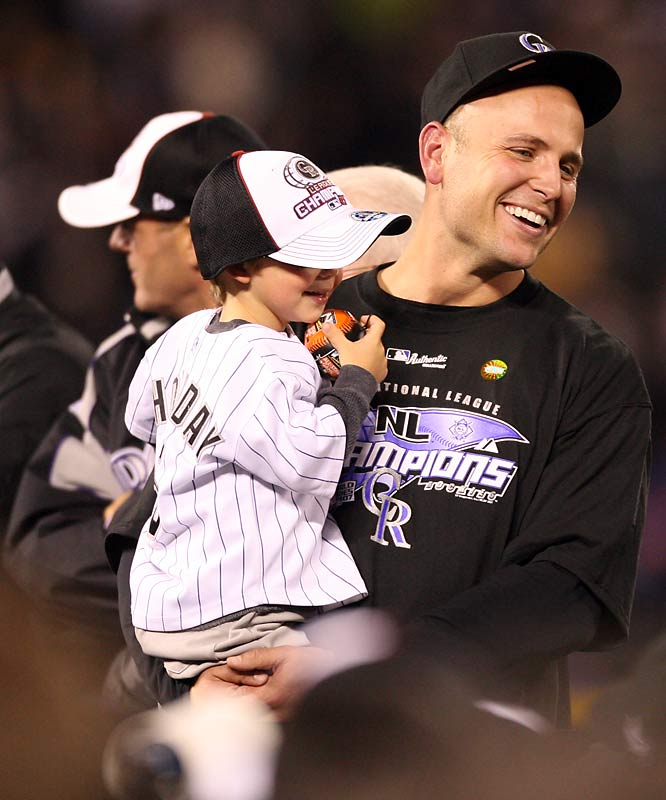 After the game NLCS Most Valuable Player Matt Holliday was all smiles with son Jackson.