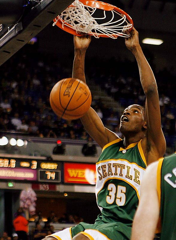 With Rashard Lewis and Ray Allen having departed, the stage is set for Durant to develop into the Sonics' top scoring option as a rookie. How Durant handles himself defensively against the NBA's parade of high-scoring shooting guards also bears watching.