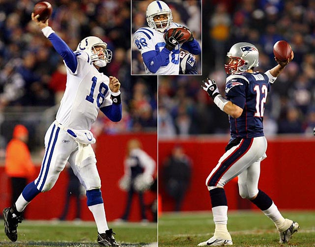 The defense intercepted Brady four times and Manning threw two touchdowns to Marvin Harrison to help the Colts improve to 8-0.