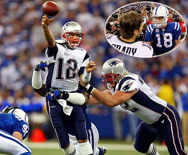 The Patriots stayed on course for an unbeaten season (9-0) as Brady threw two of his three touchdown passes in a four-minute span of the fourth quarter to overcome a 10-point deficit and beat Super Bowl champion Manning and the Colts, 24-20.
