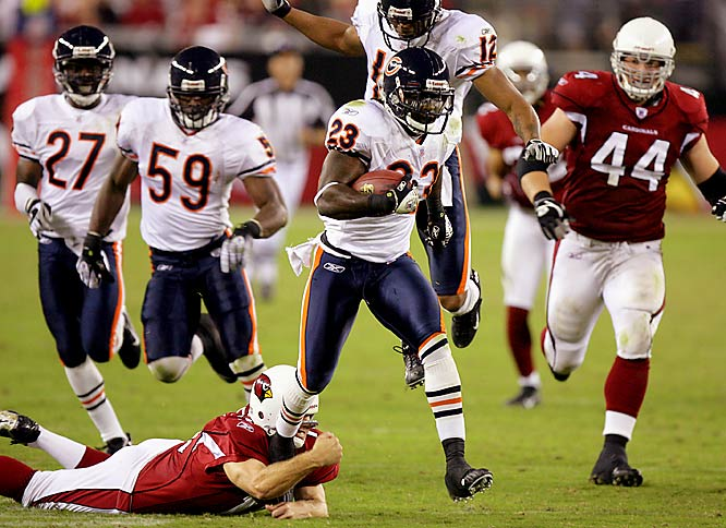 "A game perhaps best remembered for Arizona coach Dennis Green's postgame meltdown (""The Bears are who we thought they were!"") saw Chicago eke out a 24-23 victory despite six turnovers and just three points on offense. After trailing 20-0 at halftime, the Bears returned two fumbles for scores and took their first lead on Devin Hester's 83-yard punt return for a touchdown with 2:53 remaining. A Neil Rackers missed field goal in the final minute sealed the victory for the eventual NFC champs."